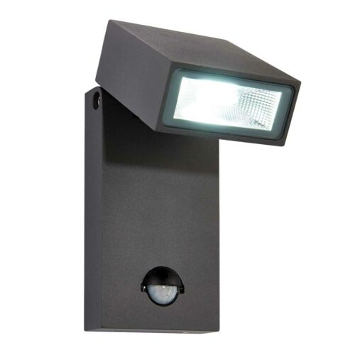 Saxby morti PIR Outdoor Wall Light Matt Anthracite IP44 10 W DEL COB Blanc Froid