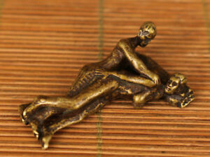 art-china-old-copper-Hand-Carved-man-woman-Statue-Collectable-pendant-netsuke