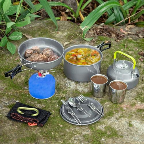 8 teilig Aluminium Camping Kochset Kochtopf Set Kochgeschirr Topfset 2-3 Person