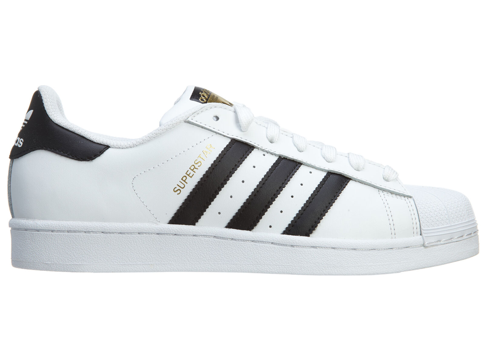 Adidas Superstar Mens C77124 White Black Gold Leather Shell Toe Shoes Size 10.5