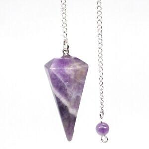 Natural-Gemstone-Amethyst-Bonded-Pendulum-Healing-Crystal-Reiki-Dowsing-Tool
