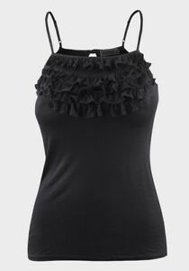 Topshop-Black-Vest-Top-size-4-6-8-10-12-14-16-Strappy-ruffle-trim-Cami-A085
