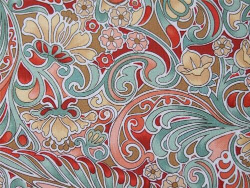 M 100/% COTTON FREEDOM FABRIC red rust multi scroll flower floral for craft FQ
