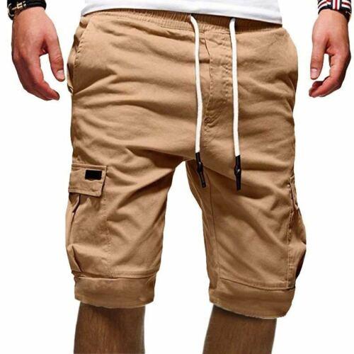 Men/'s Summer Knee Length Elasticated Waist Cargo Combat Shorts Pants Trousers