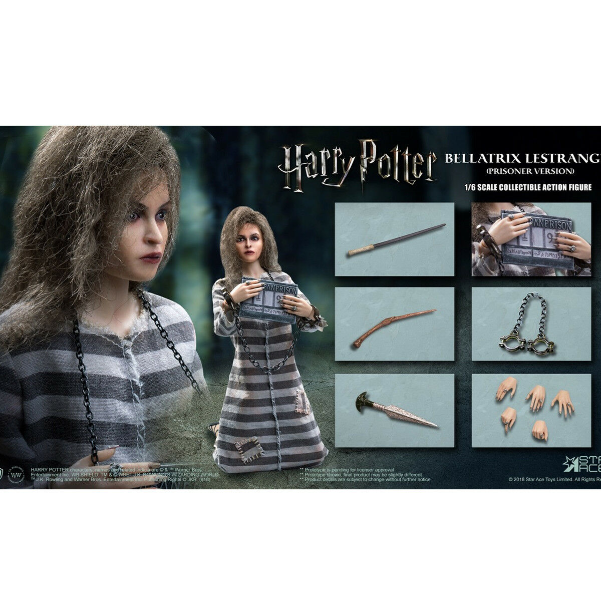 Star Ace Toys 1/6th SA0054 Bellatrix Lestrange Harry Potter Figure Prisoner Ver.