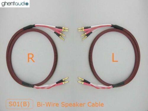 --Pair HIFI Bi-Wire Canare Star Quad Speaker Audio Cable Banana S01Bw 4.5m 15ft