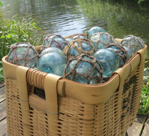 "Japanese Glass Fishing FLOATS 3-3.5/"" Mixed Lot 16 Netted//Plain Nautical Decor"