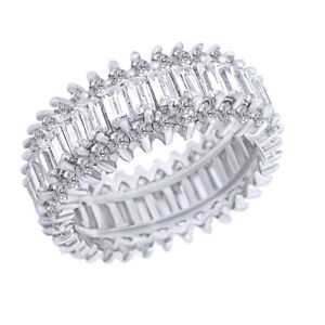 Baguette-and-Brillant-Cut-CZ-Sterling-Silver-Eternity-Band