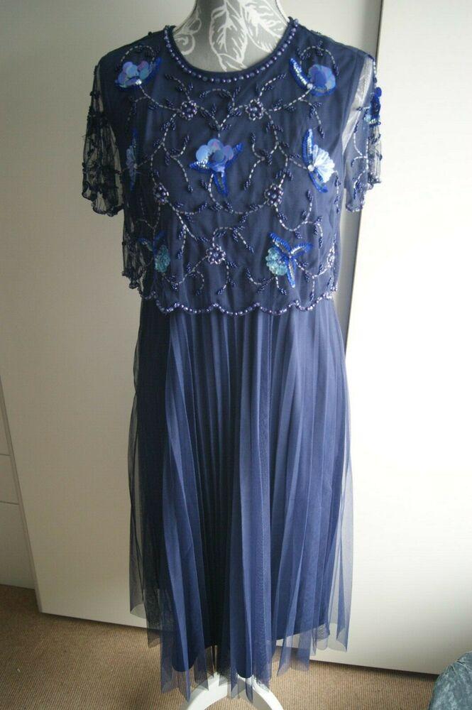 Asos Maternité Midi Dress Uk 10 Bleu Marine Eu 38,us 6 Fabriqué En Inde