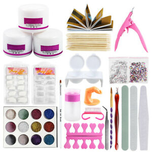 basic starter acrylic nail art kit 12x glitter powder