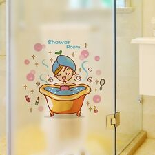 Lovely Shower Room Wall Sticker for Home Decor   Cute Girl in Bathroom Decal