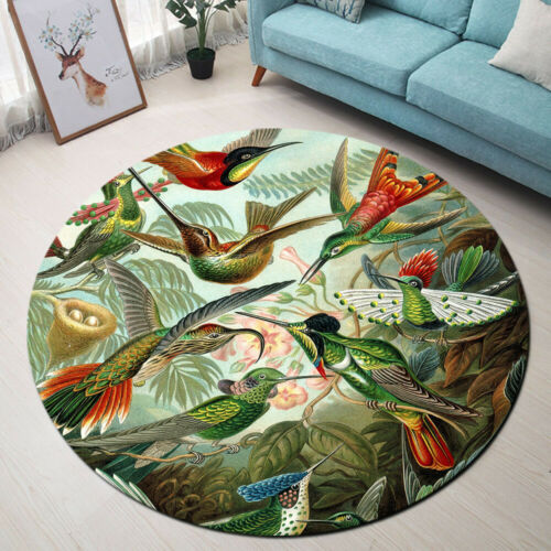 Colorful Hummingbird Flower Area Rug Carpet Round Floor Mat Crawling Yoga Mat