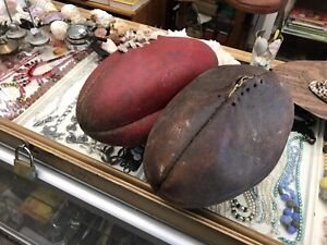 X2-Vintage-AFL-Australian-Sherrin-Leather-Football-60s-70s-amp-1990-s-Aussie-Rules