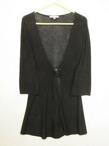 CABI-Women-039-s-black-open-front-tie-waist-sweater-long-sleeve-Size-M