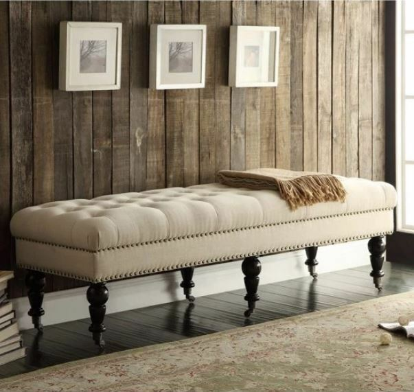 Terrific King Bed Bench End Of Bedroom Upholstered Nailhead Entryway Seat Wood Foot Ivory Interior Design Ideas Gentotryabchikinfo