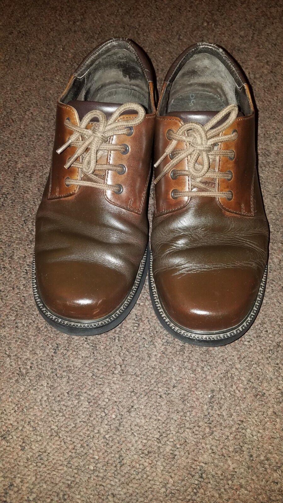 ROCKPORT Shoes Size UK 9 Wide BROWN Leather Waterproof Hydro-Shield Men