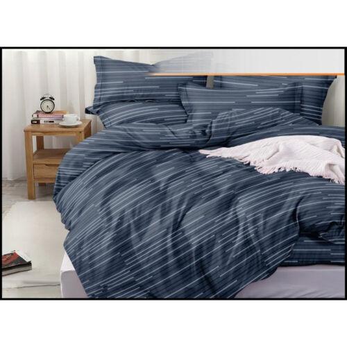 Bettwäsche Linien blau 220 x 200 cm 4-teilig inkl Bettlaken Satin-Baumwolle