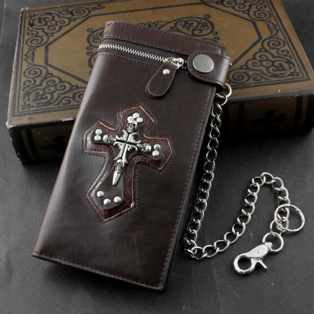 Biker Men/'s Wallet 6 in Cross w// Fleur De Lys Antique Genuine Leather with Chain