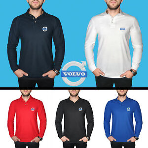 Volvo-Long-Sleeve-Polo-T-Shirt-COTTON-EMBROIDERED-Auto-Car-Logo-Mens-Clothing