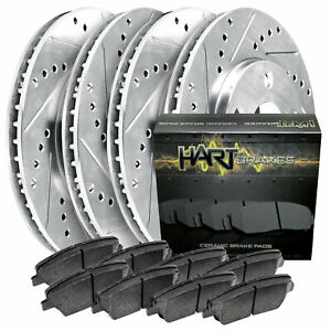 Front Rear Discs Brake Rotors and Ceramic Pads For Lexus GS350 2007-2008 Drilled