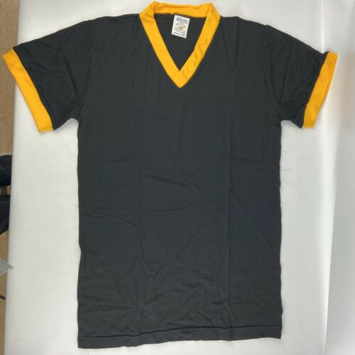 Details about  /Vintage New Era V-Neck Ringer Jersey T-Shirt Black Yellow New Old Stock