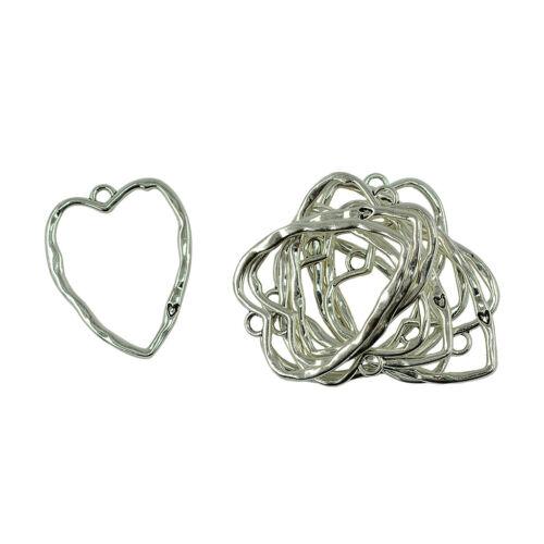 10x Tibetan Silver grand cœur filigrane Charmes Pendentifs À faire soi-même Collier Bijoux