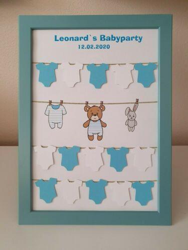 3D Babyparty Geburt Babyshow Personalisiertes Gästebuch Taufe Geburtstag
