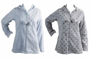 Womens Soft Fleece Bed Jacket Ladies Hooded Zip Up Diamond Design House Coat Ebay