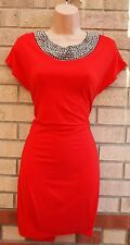 KLASS CASUAL RED BEADED PEARL COLLAR TUNIC CAMI LONG TOP TUBE PARTY DRESS 10 S