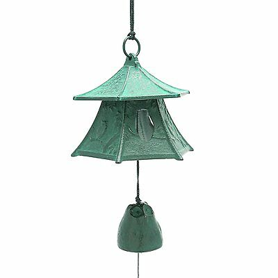 Japanese Furin Wind Chime Nambu Bell Iron Green Lantern w/ Owl, Made in Japan