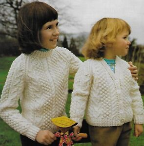 """Girl/'s cardigan and sweater KNITTING PATTERN 20/""""-30/"""" chest Aran 205"""