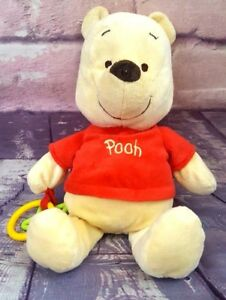 Disney-Winnie-The-Pooh-12-034-Plush-Stuffed-Animal-Baby-Rattle-and-Teether-EUC