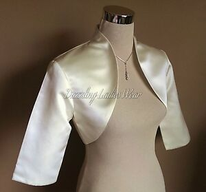 Image Is Loading Ivory Cream Satin Wedding Bolero Shrug Cropped Jacket