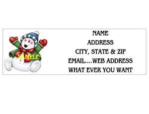 CHRISTMAS X-MAS SNOWMAN  ADDRESS LABELS COOL!! #1