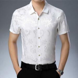 men's faux silk satin dress shirt button floral business