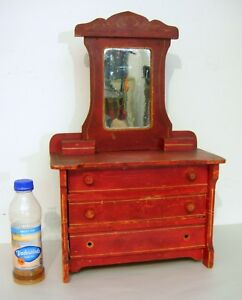 C-1890-Cottage-Chest-with-Mirror-Red-Painted-Doll-Children-039-s-Size-Needs-TLC