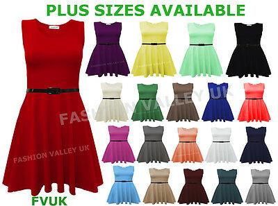 Women/'s Sleeveless Belted Flared Party Ladies Mini Skater Dress Plus Size 8-26