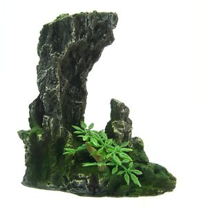 "Mountain Aquarium Ornament tree 5.2x2.7""- Rock Cave stone HIDE bonsai decoration"