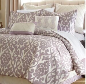 off white comforter king Lavender Off White Jacquard Floral Damask Comforter King Queen 8  off white comforter king