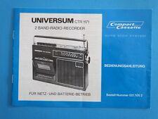 Universum CTR 1171 2 Band Radio Recorder Bedienungsanleitung 8 Seiten in D