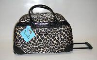 Kathy Van Zeeland Black Tan Animal Wheeled Duffle Luggage City Bag $120