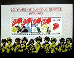 Singapore-1987-20-Years-Of-National-Service-Miniature-Sheet-of-5-5v-MNH