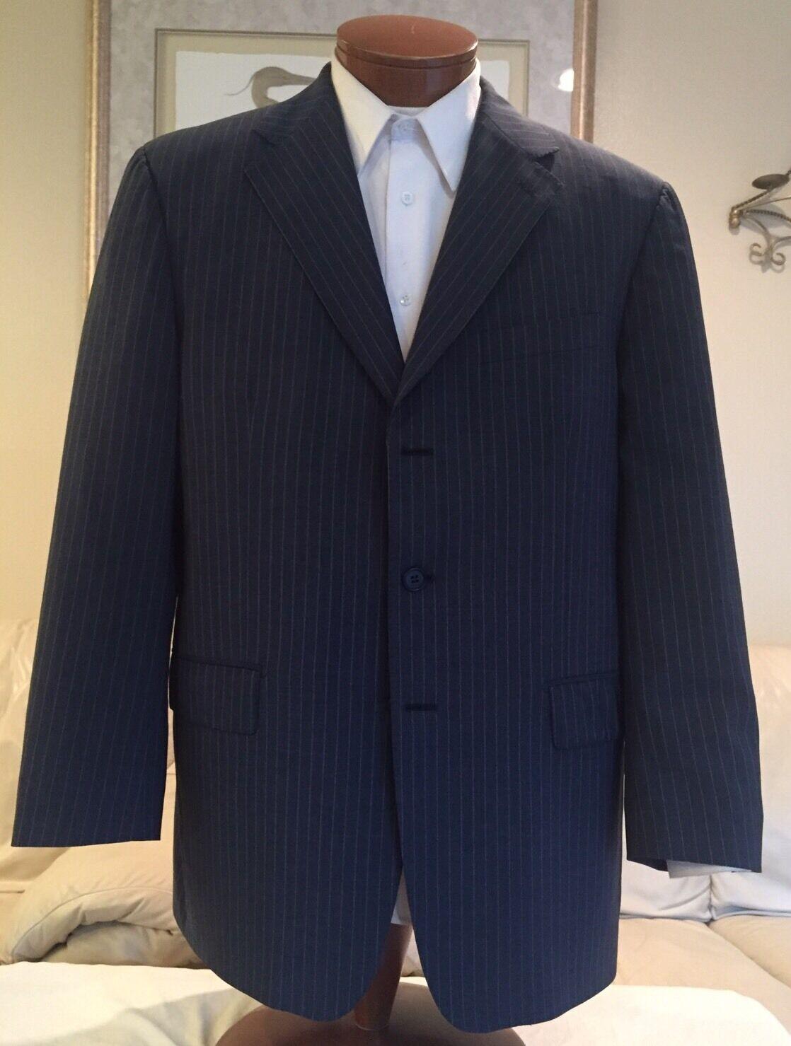 Faconnable Mens Navy bluee Stripe 3 Btn 2 Vent Wool Mohair Blazer Sz 44 R MINT