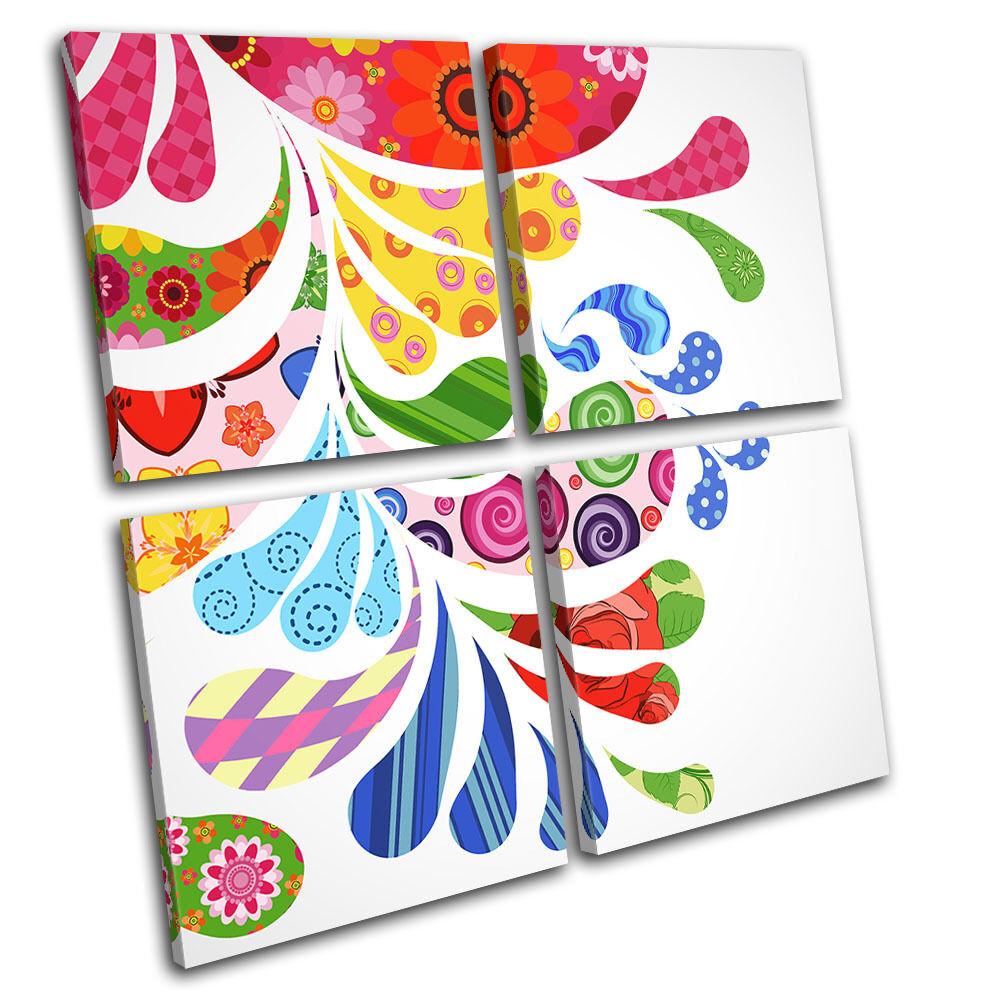 Drips Swirls Colourful Abstract MULTI Leinwand Wand Kunst Bild drucken