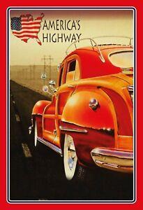Ameriques-Itineraire-66-Highway-Voiture-Tole-Plaque-Etain-Signer-20-X-30-CM