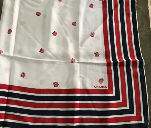 Chanel Scarf Red, White And Navy Blue