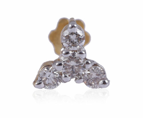 0.14 Cts Round Brilliant Cut Natural Diamonds Nose Stud In Hallmark 18Karat Gold