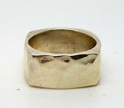 Heavy Mexico Sterling Silver 925 Modern Hammered Square Band Ring Size 7.5