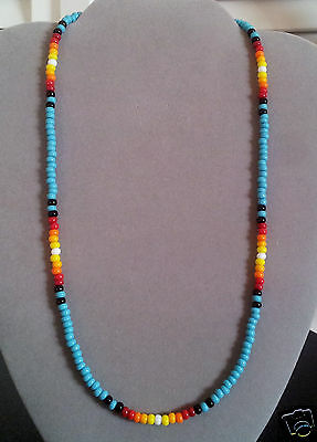 NEW Lg * Turquoise Sunburst Beaded Mens, Womens Necklace-Native American Made