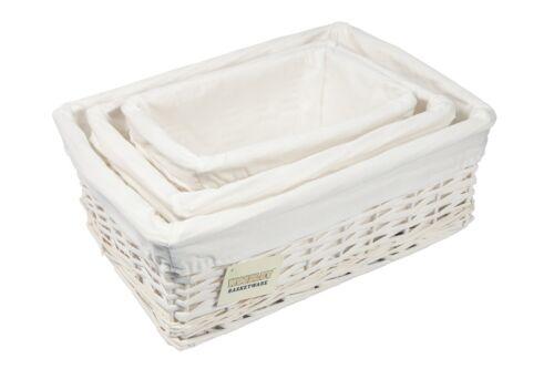 /& Lrg. Sml,Med Set of 3 White Storage Hamper Basket With White Lining